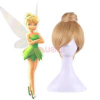 Tinker Bell Tinkerbell Fairy Blonde Cosplay Wig Peter Pan Short Yellow Hair Bun