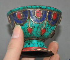 Exquisite old Tibet bronze inlay lapis lazuli turquoise Tea cup Bowl