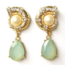 Sea Shell Conch Nautilus Nautical Teardrop Dangle Earrings Green Turquoise Pearl
