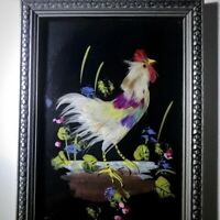 Antique Bird Feather Art Circa 1941 Vintage Hand Painted Framed Rooster