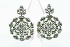 $600 14.00CT NATURAL GREEN PERIODT & TOPAZ CIRCLE CLUSTER EARRINGS .925 SILVER