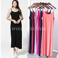 Women Spaghetti Straps Long Cami Slip Dress Camisole Maxi Dresses Petticoat