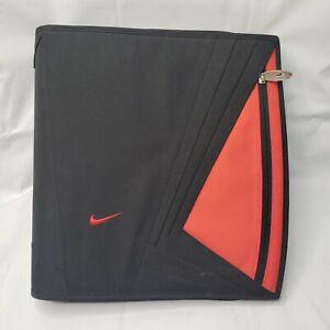 Vintage Nike SWOOSH Mead Binder Trapper 3 Ring Organizer Zipper Black Red Labels