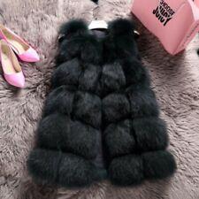 Women Fox Fur Gilet Thicken Winter Warm Coat Sleeveless Jacket Vest Waistcoat Sz