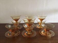 Set Of 10 Vintage Stuart Crystal Amber Sweet Dishes