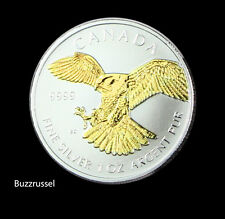 2014 Silver OZ  Canadian Peregrine Falcon Birds of Prey Canada 24K Gold Gilded