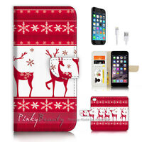 ( For iPhone 7 ) Wallet Case Cover P3472 Christmas