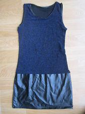 LADIES GLITTLE BLUE FAUX LEATHER TUNIC TOP BLOUSE SIZE 8 MINI DRESS PARTY BOHO