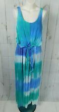 Emma & Michele Blue Green White Ombre Tie Dye Knot Tie Sleeveless Maxi Dress - 8