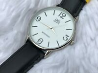 Q&Q Men Watch Black Band White Face Water Resistant Japan Movement Wrist Watch