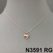 Elegant Simple Rose Gold Finish Heart Shape Charm Beautiful Dainty Necklace