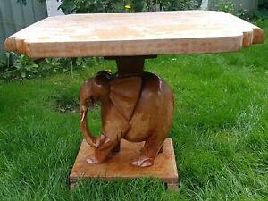 1 VINTAGE HEAVY SOLID WOODEN CARVED ELEPHANT TABLE ZEN YOGA UP CYCLE PROJECT