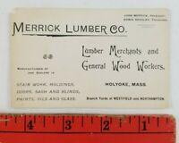 Vintage 1900's Lumber Co. Holyoke Massachusetts Business Card
