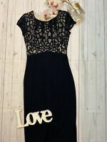 Monsoon Size 10 navy lace top fitted stretchy party occasion dress wedding guest