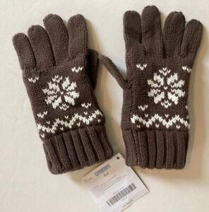 NWT Gymboree Mountain Lodge 3-4 Boys Fleece Lined Brown Fair Isle Gloves 3T-4T