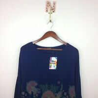 NEW Desigual Cassidy Floral Tee T-shirt Size Large Long Sleeve Blue 19swtk89