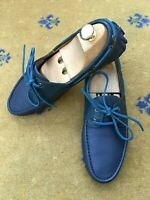 Gucci Mens Shoes Blue Leather Boating Loafers Drivers UK 7.5 US 8.5 41.5 Script