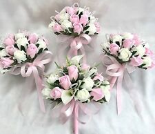 BRIDES & 3 BRIDESMAIDS POSIES, CALA LILIES, PINK IVORY ROSES, ARTIFICIAL FLOWERS