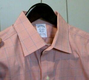 Brooks Brothers Classic Orange Plaid Non Iron Dress Shirt M Med 15.5 x 32
