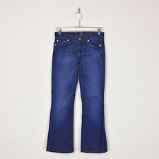 $178 7 For All Mankind Dark Blue Distressed Bootcut Stretch Denim Jeans 25 28