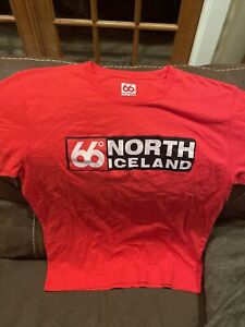 66 DEGREES NORTH ICELAND MENS S/S T SHIRT RED Sz S
