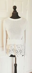 Oui size 10 white cotton jumper with broderie anglaise mock shirt detail
