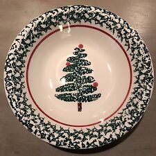 FURIO Christmas Tree Soup Cereal Bowl Holiday Spongeware Green White Red ITALY