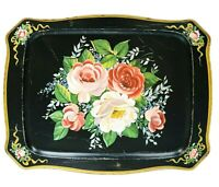 """Vintage Hand Painted Tole Tray Floral Design 18 1/2"""" x 14"""" Well Loved Metal Tray"""
