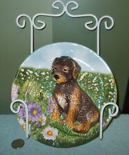 "3D Dog Mixed Breed Plate 8"" Multi-Color Ceramic w/ Metal Wall Hanger +"