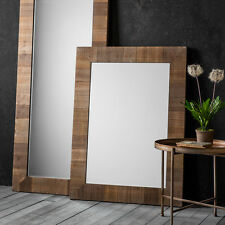Blake Large Rustic Wood Frame Rectangle Overmantle Wall Hung Mirror 114cm x 84cm