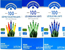 Holiday time 100 LED Mini Christmas lights Choose Colors energy star green wire