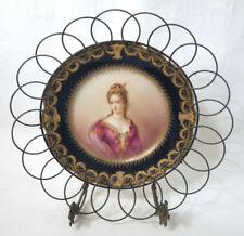Vtg Antique Duchesse du Maine Portrait Plate Signed A. Soustre Dated 1892 Limoge