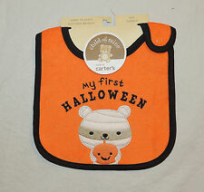 NEW Unisex Baby Carters My First Halloween Bib Mummy Bear Monster Orange