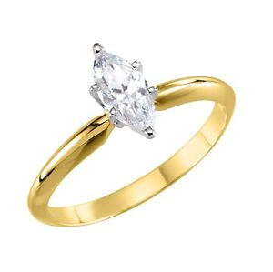 14k Gold Marquise CZ Solitaire Engagement Ring 2.0, 3.0, or 4.0 Carats