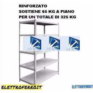 SCAFFALE METALLO KIT Bulloni 5 Ripiani 100 x 40 x 188 GRIGIO 400Kg Portata