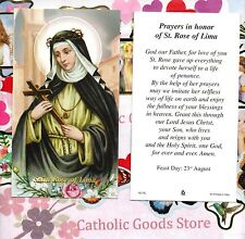 St. Rose of Lima with Prayer in Honor of Saint Rose - Paperstock Holy Card