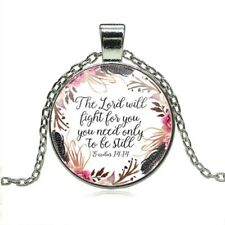 The Lord will fight for you, you need only Be Still Necklace Bible Verse Jewelry