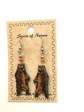 WOOD BADGE SPIRIT OF NATURE STANDING BEAR EARRINGS  WOODBADGE