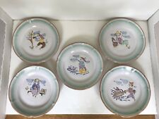 Set of 5 Village People, Fishing  Ceramica Solimene Vietri Plates Made in Italy