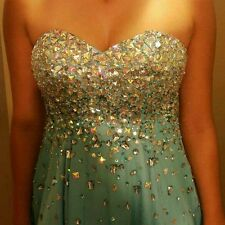 Strapless aqua prom dress