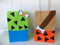 Pebbles/ Bam Bam Flinstones party favors/ Favor Bags/ Goodie Bags  SET OF 8
