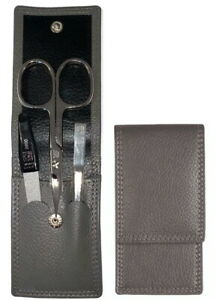 Manicure Case - Yes Solingen - Real Leather Taupe Kombischere Set