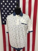 vtg Roundtree Yorke Abstract Banded Polo Shirt mens XLT xl tall white blue 18971