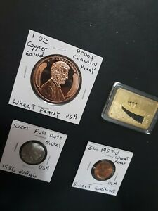 coin LOT proof  Wheat Penny 1oz copper round BUFFALO 1oz GP BAR + NO JUNK DRAWER