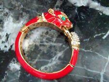 HIGH END Red Enamel Panther Leopard Bangle Bracelet Pave Crystal Rhinestone