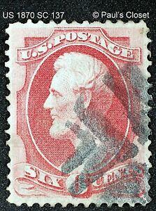 "US 1870 SC 137 LINCOLN 6¢ CARMINE ""H"" GRILL UNG FANCY CORK CNX VERY FINE"