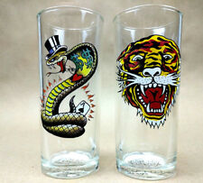 Don & Ed Hardy Designs 12 Oz Highball Glasses w/Roaring Tiger and Top Hat Snake
