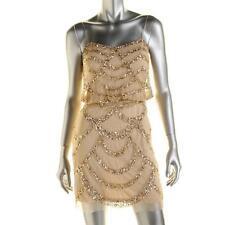 AIDAN MATTOX ~ Gold Mesh Deco Sequins Blouson Cocktail Dress 6 NEW $295