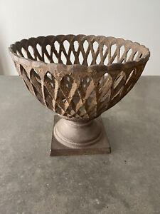 Vintage Cast Iron Cut Lace Pedestal Bowl Lattice Decor