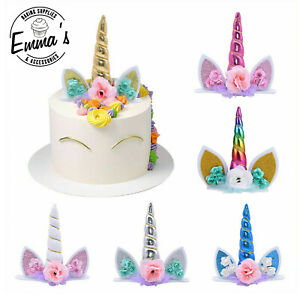 1 PCS Large Unicorn Horn and Ears Cake Topper Birthday Celebration Party